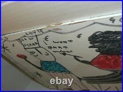 Blow Oskar Signed R A Miller Folk Artist Painting 16 x 12 on Board
