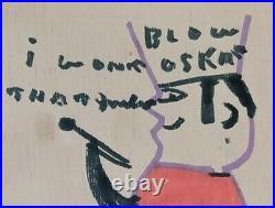 Blow Oskar painting by RA Miller, legendary folk artist REM R. E. M
