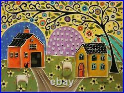 Bountiful Landscape 12 x 16 ORIGINAL CANVAS PAINTING Folk ART PRIM Karla Gerard