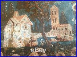 C1835 American Colonial Hand Painted House Folk Art Wallpaper Fragment Ex MIA