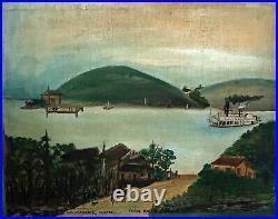 C1850 Ohio River Riverboat Scene by S. L. Kendrick