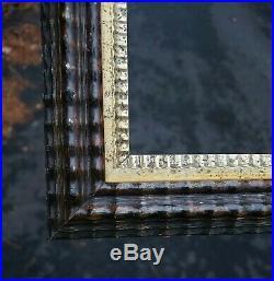 C1850 Outstanding American Ebonized Dutch Ripple Folk Primitive 16 x 20 Frame