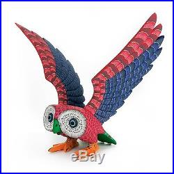 COLORFUL OWL Oaxacan Alebrije Wood Carving Mexican Folk Art Sculpture Painting