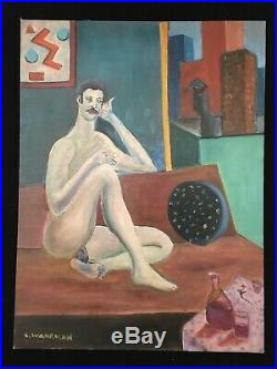 C Wahrman Folk Art Outsider Oil Painting on Board Nude Man 18 X 24