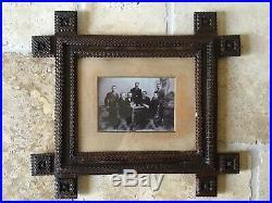 Ca. 1900 Tramp Art/Folk Art picture frame Orig Glass 16 x 17 3/4