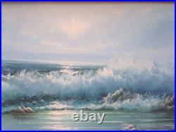 California Vintage Original Folk Painting Stormy Rocky Seascape Stevens Huge