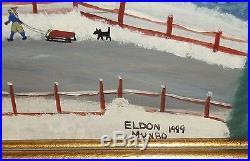 Charles Eldon Munro Winter In Cape Cod Primitive Folk Art Oil Masonite Painting