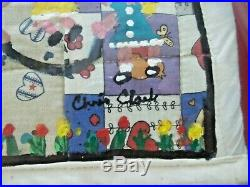 Chris Clark Black Folk Art Painting on Handmade Quilt 15'x15' Signed Outsider