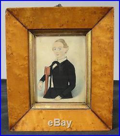 Circa-1840s Antique Miniature Folk Art Watercolor Painting, Birdseye Maple Frame