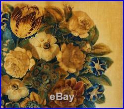 Classical Antique 19thC American Folk Art Velvet Theorem Painting, Gilt Frame