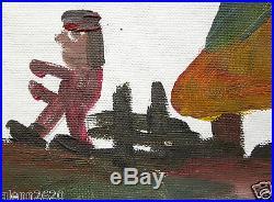 Clementine Hunter Signed Folk Art Painting Figures Landscape 15.75Hx20W unframed