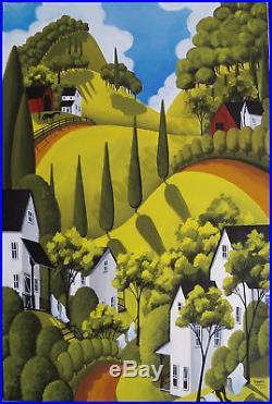 Criswell ORIGINAL 36x24 folk art naive painting primitive landscape Farm America