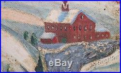 DAVID ELLINGER-PA Dutch Folk Artist-Original Signed Oil-Winter Village Landscape