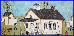 DOLORES HACKENBERGER-PA Dutch Folk Artist-Original Signed Oil-Amish School House