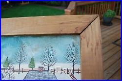 DOLORES HACKENBERGER -PA Dutch Folk Artist- Signed Winter Scene oil painting