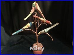 Dan Donna Strawser Carved Wood, Folk Art, Painted Bird Tree, 5 Birds, 1990,16in