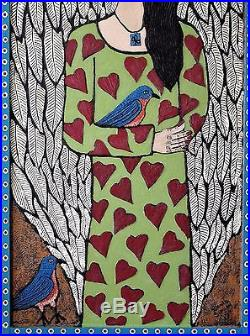 Danette Sperry Primitive Outsider Southern Folk Art Mixed Media Painting Angel