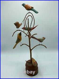 Daniel & Donna Strawser Large 18 Folk Art Hand Carved & Painted 6 Birds in Tree