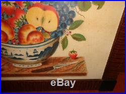 David Ellinger Canton Bowl of Fruit w Bird Folk Art Theorem Painting, Signed