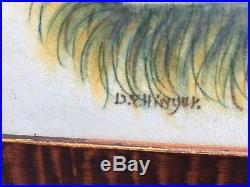 David Y Ellinger Theorem Hand Painted Original on Velvet Pa Folk Art Vintage