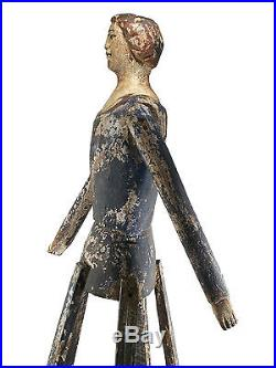 Decorative Folk Art Santos Cage Doll Paint & Gesso over Wood Late 20th C