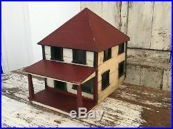 Doll House Antique Folk Art Architectural Model Wood Ooak Red White Paint Aafa