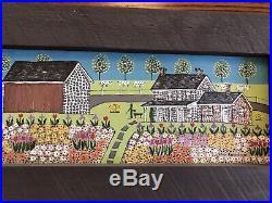 Dolores HACKENBERGER original folk art oil paint, Field of Flowers. Barns, Small