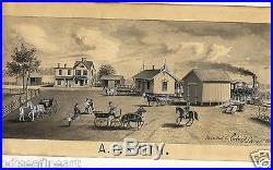 EDWARD LANGE 1846-1912 American FOLK ART Painting Long Island NY Signed 1880