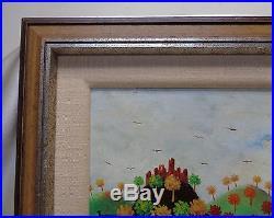 E. Molnar Estate Vintage Americana Folk Art Hills & River Oil Painting on Board