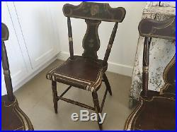 Early 1800s Antique Folk Art Pennsylvania Dutch Side Chairs Wood Hand Painted