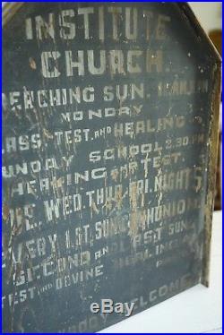 Early 1900s Antique ORIG AAFA Church Folk Art Wooded Paint Sign Smaltz 1800s