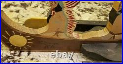 Early 1900s Folk Art Painted Wood Whirligig Native American Indians in Canoe