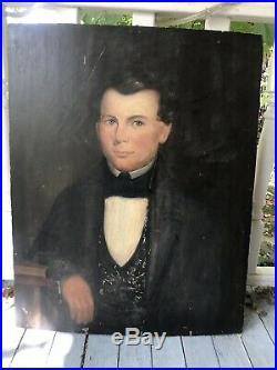 Early 19th c. Portrait Painting Gentleman Oil on Board American Folk Art