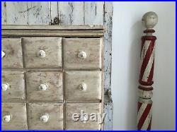 Early Aafa Antique Folk Art American Apothecary Cabinet Original White Paint