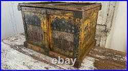 Early Aafa Antique Folk Art Bread Box Bakery Patriotic Flag Stars Original Paint