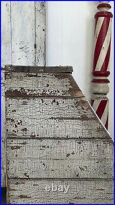 Early Aafa Antique Folk Art Grain Bin Original Green Crackle Paint Square Nails