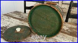 Early Aafa Antique Folk Art Staved Wood Firkin Original Green Paint