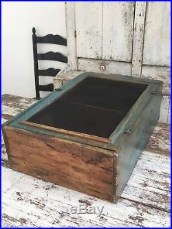 Early Aafa Folk Art Antique Blue Table Top Pie Safe Old Original Paint