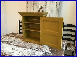 Early Aafa Folk Art Antique Original Hand Painted Mustard Wall Cabinet Wood