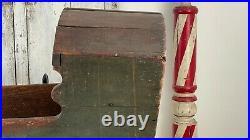 Early Antique Aafa Folk Art Wooden Doll Cradle Original Paint Square Nails Dovet