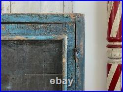 Early Antique Folk Art Aafa Pie Safe Original Blue Alligator Paint Cupboard