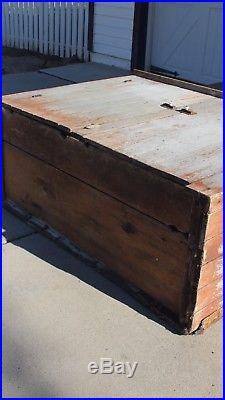 Early Antique Folk Art Primitive Wood Dry Gray Cabinet Cupboard Crackle Paint