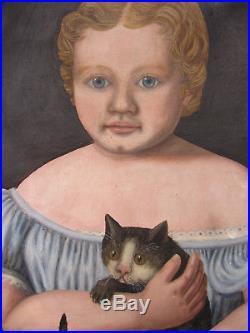 Early Original 1800's Child Cat Primitive American Folk Art Painting Portrait