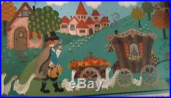 Early Original Folk Art Painting by Donna Moses California Artist 1984