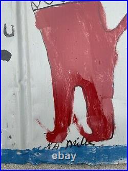 Early RA Miller Folk Outsider Art Large Painting On Reclaimed Metal