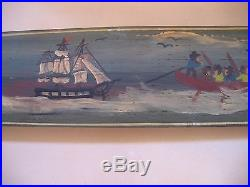 Elizabeth Dean Whaling Maritme Folk Art Hand Painted Long Oak Barrel Stave