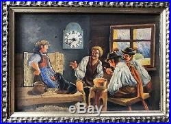 Erotic German Swiss Continental Watch Clock Novelty Wall Folk Art Painting
