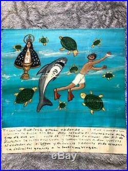 Ex Voto Mexican Retablo Painted Tin Folk Art Sign SHARK TURTLES SWIMMING Virgin