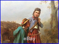 FERDINAND MAROHN (fl. 1839-1865) ANTIQUE SIGNED OIL RURAL FRENCH FOLK SCENE