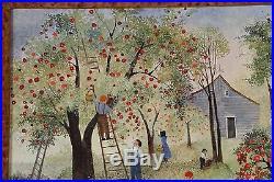 FOLK ART PAINTING FAMILY PICKING APPLES JEANNE DAVIES (Listed artist)